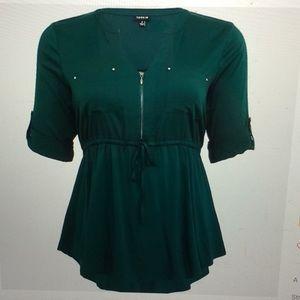 Torrid challis zip front green tunic size 5X